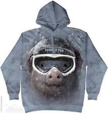 Pig In Snow Hoodie The Mountain Medium Adult Size Hoodie Sweatshirt