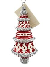 Patricia Breen Meilleurs Voeux Red Silver White Jeweled Christmas Tree Ornament