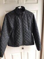 Women's LL Bean Black Quilted Shell Puffer Jacket Winter ski Full Zip Size XS