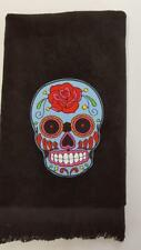 Rose Sugar skull  fingertip TOWEL goth FREE SHIP cute black applique bath