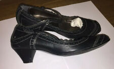 Dune Black Leather Mary Jane Low heel shoes uk 6 Eu 39