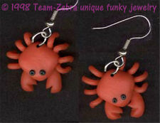 New Funky Beach CRABS EARRINGS Luau Party Food Crabby Crustacean Novelty Jewelry