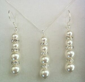 Pearl & Sterling Silver Bridal Necklace & Earrings Made With SWAROVSKI ELEMENTS