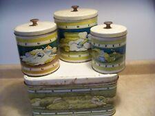 VINTAGE RETRO BALLONOFF METAL CANISTER SET FLOUR-SUGAR-COFFEE & BREAD BOX  4PC
