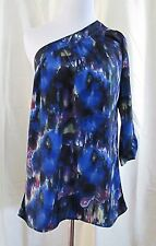 One Shoulder Top Size Med Delicia Blue Multicolor Patterned Abstract Clearance