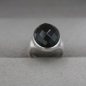 New Solid 925 Sterling Silver w/ Oval Faced Natural Black Agate Ring Size 4-10