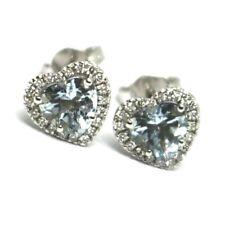 18K WHITE GOLD LOVE HEART EARRINGS AQUAMARINE WITH DIAMONDS FRAME, DIAMETER 9 MM