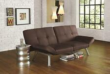 Convertible Simple Micro-Suede Brown Contempo Futon Sofa Sleeper Bed