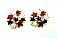 PATRIOTIC GOLD, RED, WHITE & BLUE STAR CLUSTER PIERCED EARRINGS  AMERICAN