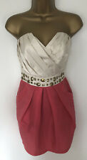 Lipsy Strapless Dress Pink Coral Gold Bead Detail Satin Pleat Short Size 8 BNWTS