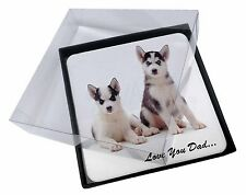 4x Husky Pups 'Love You Dad' Picture Table Coasters Set in Gift Box, DAD-54C