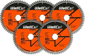 5 x WellCut TCT Saw Blade 160mm x 60T x 20mm Bore Suitable For Festool TS55 HK55