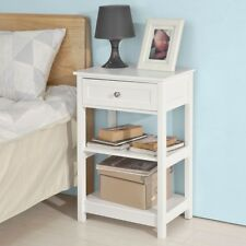SoBuy® Wood Sofa Beside Lamp Night Stand End Table with Drawer,White,FBT46-W, UK