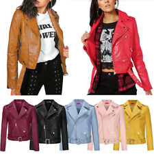 UK Womens Ladies PU Leather Belted Zipped Motorcycle Biker Jacket Outwear New