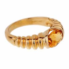 Bulgari Citrine Yellow Gold Ribbed Ring (0001896)