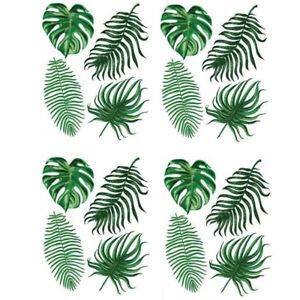 24 Aufkleber Palmen Blätter DIY Wandtattoo Sticker Tattoo Set Wald Grün Pflanze