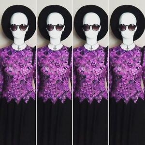 Vintage 1960/70's Purple/Black Floral Day/Evening Dress. Size 10.