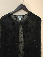 JMD Women's 100% Silk Beaded Embellished Jacket hook closure Sz Small