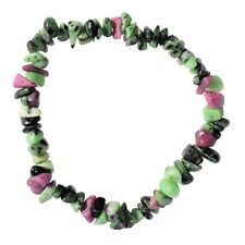 Premium Natural Ruby Zoisite Crystal Chip Stretchy Bracelet - Selenite Charged