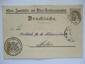 Württemberg Ganzsache Drucksache Alters-Versicherungsanstalt 1899 nach Aalen