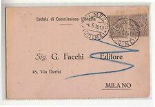 1918 CEDOLA COMMISSIONE LIBRARIA c.1x2 FLOREALE-h226