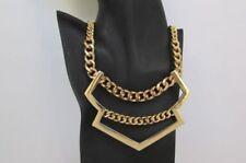 Big Wide Bib Arrow Retro Pendant Women Fashion Jewelry Gold Metal Chain Necklace