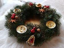 Deko Adventskranz künstlich für kl. Kerzen + Teller gold Weihnachtskranz Kranz