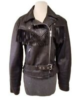 FIRST GENUINE LEATHER HARLEY BUCKLE BLACK MOTORCYCLE RIDING JACKET WESTERN LARGE