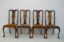 VINTAGE QUEEN ANNE OAK 4 DINING CHAIRS