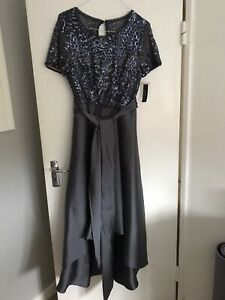 Womens R&M Richards Charcoal Grey Sequinned Sparkly Embroidered Dress Size 12