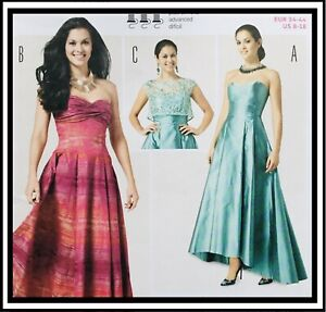 SEXY STRAPLESS EVENING DRESS / PARTY DRESS Sewing Pattern SIZE 8-18 BD6777 UNCUT