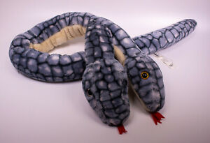 """Animal Alley Two Headed Snake 52"""" Plush Toys R Us Exclusive 5"""" Jumbo Blue Grey"""