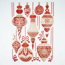 3-D Pop-Up Ornate Christmas Ornament Sticker Sheet Window / Room Decoration