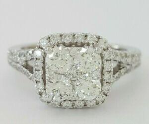 1 ct 14k White Gold Round Cut Diamond Cluster Cushion Halo Engagement Ring