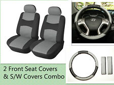 "2 Front Car Seat Covers PU Leather +15"" SW Compatible to BMW 859 Bk/Gray"