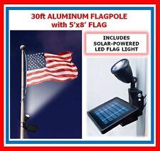 30ft Flagpole One Pc. Commercial Aluminum Pole w Solal Flag Light & 5' x 8' Flag