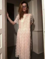 1980's Pink Lace Maxi Dress / Bridesmaid's Gown with Drop Waist (S/M)