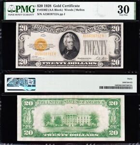 AWESOME Crisp Choice VF++ 1928 $20 GOLD CERTIFICATE! PMG 30! FREE SHIP! 18712A