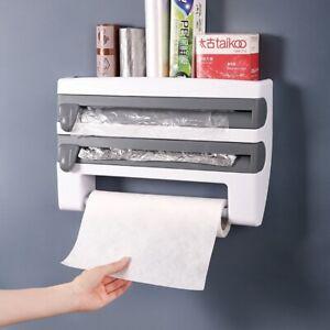 Küchenrollenspender Wand-Rollenhalter Frischhaltefolie Schneidabroller 2 farbens