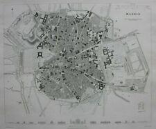MADRID CITY PLAN, SPAIN, original antique map, SDUK, 1844