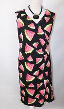 Ladies Smashed Lemon Water Melon Dresss Fresh Uk 14  NWT Fashion Summer Black