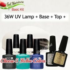 GEL MANICURE BASIC GIFT KIT: 36W UV LAMP Pro+Base Top + 5 CND Shellac Colors SET