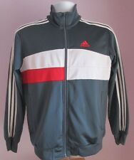 VTG Mens ADIDAS Grey/White/Red Tracksuit Sport Top Size Small (A7)