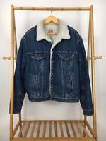 VTG Levi's Denim Sherpa Trucker Denim San Francisco Jean Jacket Size 48 L USA