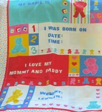 """Sewing Baby Quilt Top Fabric Panel personalize blocks Bears 35"""" x 44"""""""