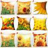 Yellow Sunflower Flower Linen Throw Pillow Case Cushion Cover Home Decor Welcome