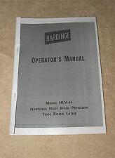 Hardinge HLV-H Toolroom Lathe Manual