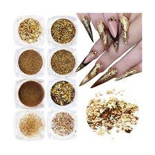 Holographic Nail Glitter Flakes Acrylic Nails Powder Nail Art Supplies Gold G...
