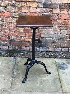 1920's Industrial Metal Machinist Table With Wooden Top