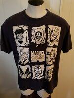 Marvel Comic Book Heroes Design Men's Black Short Sleeve T-Shirt  Size XL